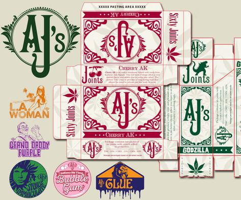 AJ Logo / Strain Logo / Packaging Design