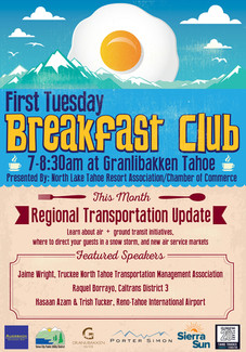 North Lake Tahoe Resort Association Monthly Breakfast Club Ad