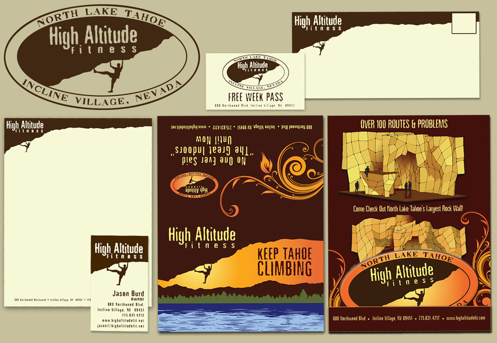 High Altitude Fitness Logo / Cards / Letterhead / Marketing Postcard & Sticker