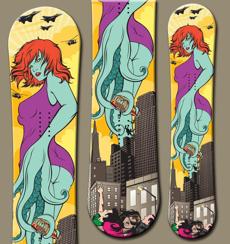 Actual Snowboards Shezilla Snowboard Illustration