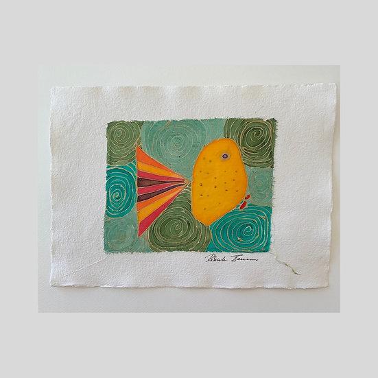 Yellow Fish on Green Silk