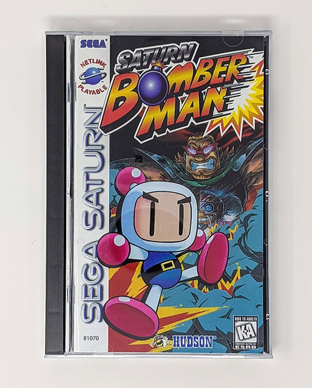 Saturn Bomberman game, manual, back art, case, case protector & sponge
