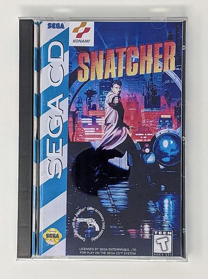 Snatcher game, manual, back art, case, case protector & sponge