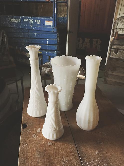 Milk glass vases and bud vases