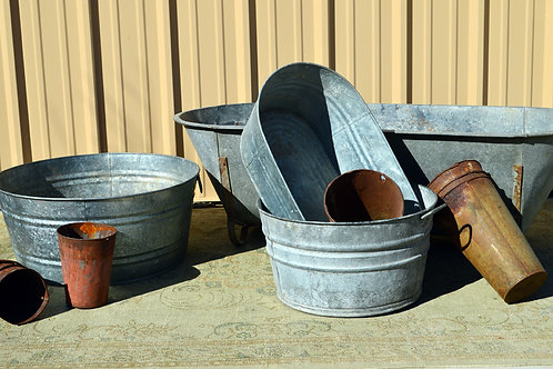 Antique Galvanized Tub, Bins and Vases