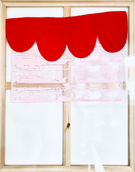Red Curtain on Glass