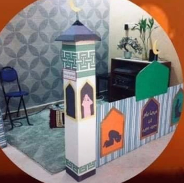 A family created a mini-mosque out of cardboard inside of their home for an extra Ramadan feel.