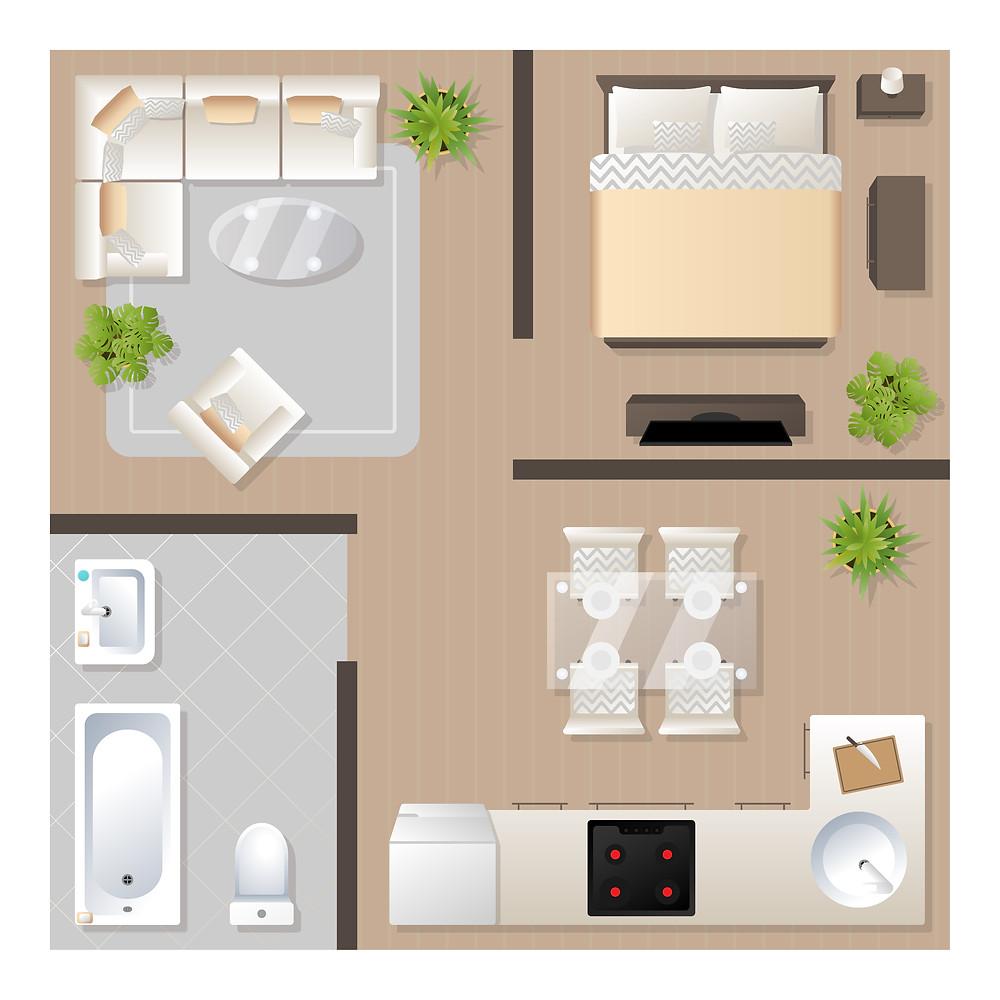 plan de maison pour positionnement des meubles