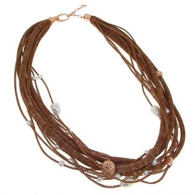 Collana in argento 925/perle naturali/rame - BRONZ