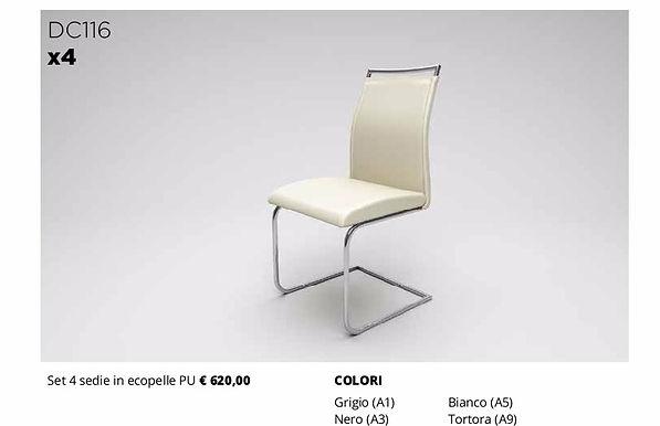 4 sedie in ecopelle diversi colori
