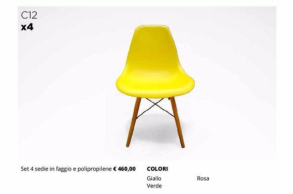 4 sedie in faggio stile nordico