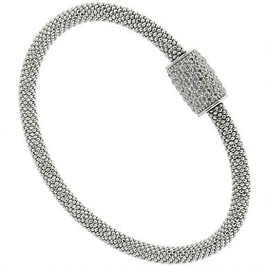 Bracciale in argento 925/zirconi/caucciù