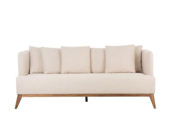Divano 3 posti + 6 cuscini in legno / poliestere beige