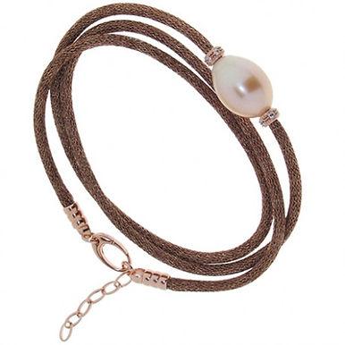 Bracciale in argento 925/perle/zirconi/rame