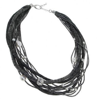 Collana in argento 925/perle naturali/rame CENERE