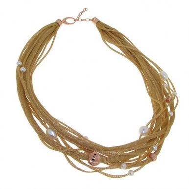 Collana in argento 925/perle naturali/rame - MIELE
