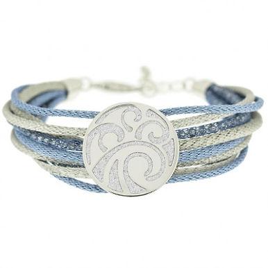 Bracciale in argento 925/glitter/rame smaltato