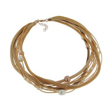 Collana in argento 925/perle naturali/rame - SF/GI