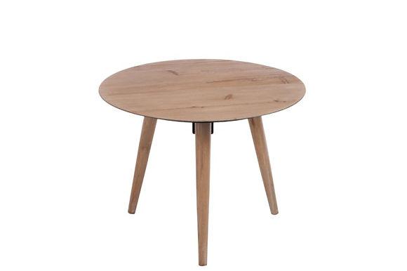 Tavolino triangolare impiallacciato in metallo tondo naturale grande