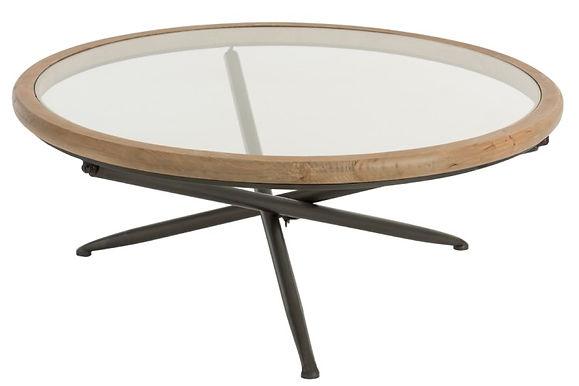 Tavolo rotondo legno / vetro marrone L