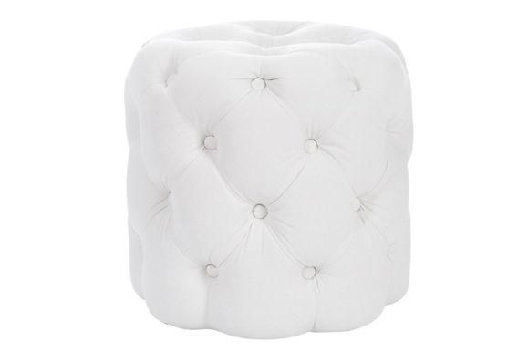 Hassock Cylinder Button Cotone / Legno Bianco 45X45X44Cm