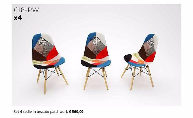 4 sedie in tessuto colorato
