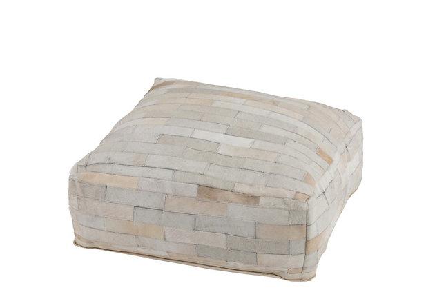 Puff Hazelnut Leather White