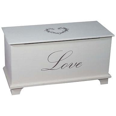 CASSAPANCA SHABBY LOVE IN LEGNO FINITURA BIANCA ANTICATA 80X35X43 CM