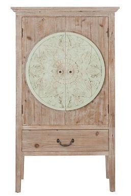 Armadio 2 ante + 1 cassetto in legno naturale / menta