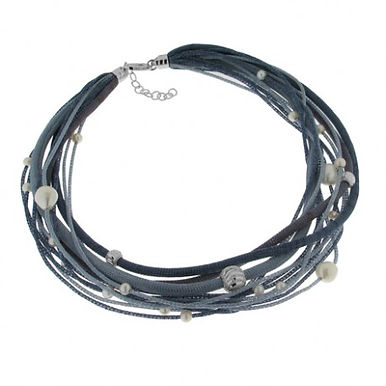 Collana in argento 925/perle naturali/rame - SF/BL