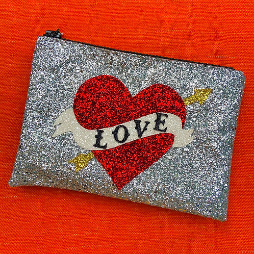 I Know the Queen Glitter Clutch - Love Heart