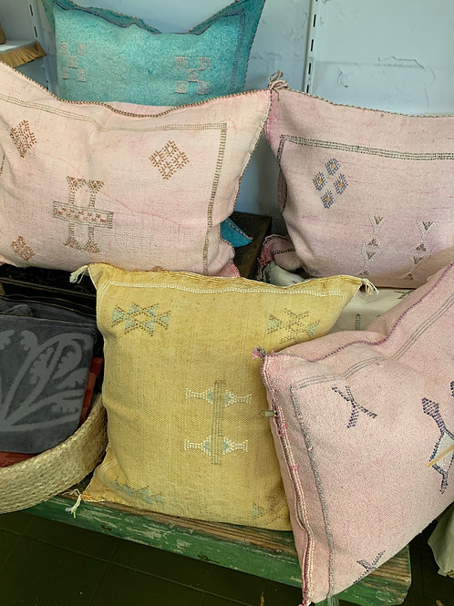 Cactus silk hand dyed & embroidered scatter cushions with feather insert