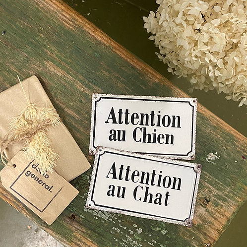 """Tin """"Attention au Chien/Chat"""" Sign"""
