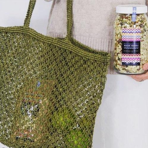 jute string bag olive