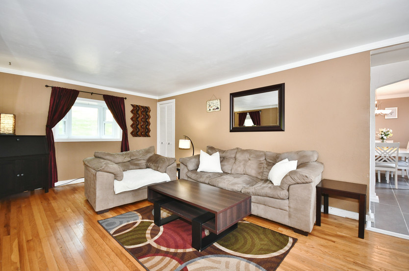 Spacious living room with bay window!