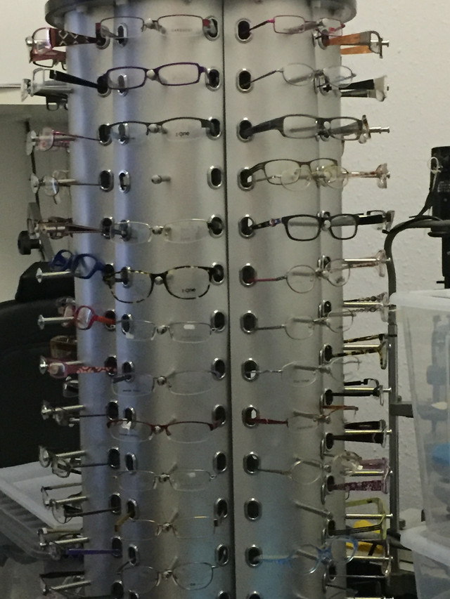 Glasses in the optometry room at Homeplus NI