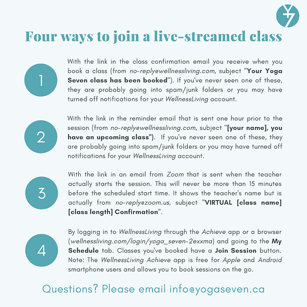 ways to login to a live streamed class (