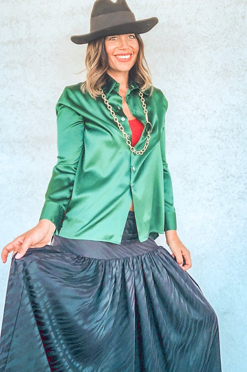 Camicia in seta Leopoldine smeraldo