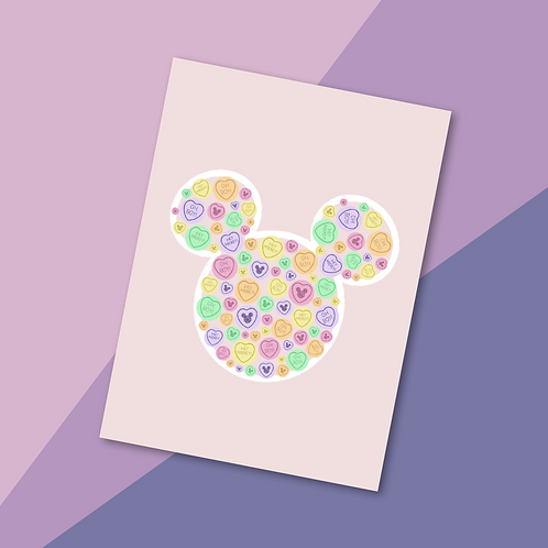 Main Mouse Sweets Love Hearts Print