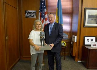Sculpture visits Mayor