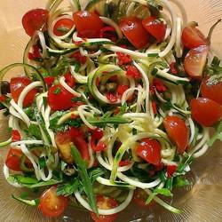 Courgette, rocket, tomatoes, chilli, cap