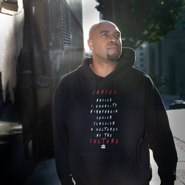 """Robert """"RobYoung"""" Walker, Hip Hop Artist, Dream Roots Creative wearing Cancel Culture Hoodie 