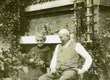 Pauline's maternal grandparents Maria Mathieu Ring and Johann Ring in front of their home in St. Ingbert, Germany