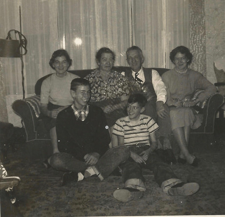 The Loewenhardt Family in about 1952, L to R on sofa, Lucy, Mama, Dad, Pauline with Hubert and Joe on the floor