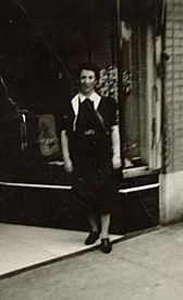 Pauline's aunt, Tante Hanny standing in front of her dress shop in Kansas City, MO