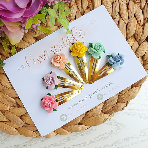 Pastel Rose Snap Clip Set