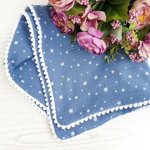 Blue and White Star Personalised Blanket