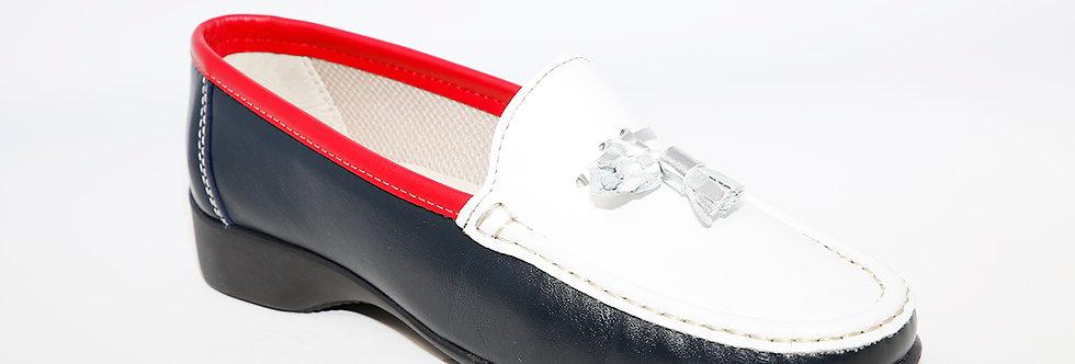 Teresa Torres Navy/White/Red Loafer