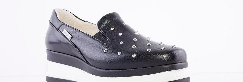 Marco Moreo - Black Luna Slip On Studded Toe Shoe