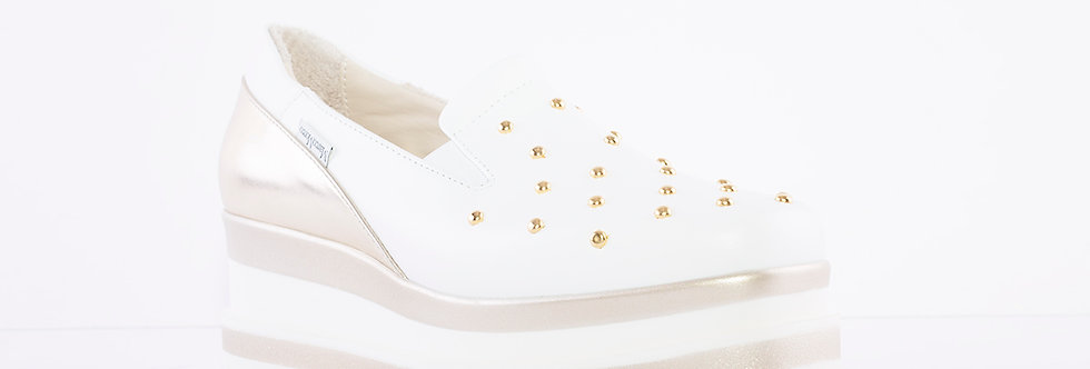 Marco Moreo - White/Gold Luna Slip On Studded Toe Shoe